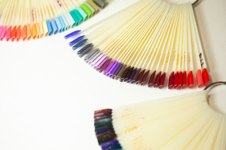 collection of color nail polish samples 写真素材
