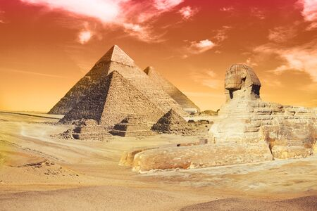 Egypt Cairo - Giza. General view of pyramids with Sphinx 스톡 콘텐츠