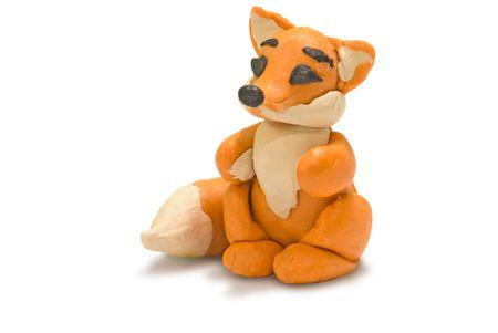 plasticine red fox Stock Photo