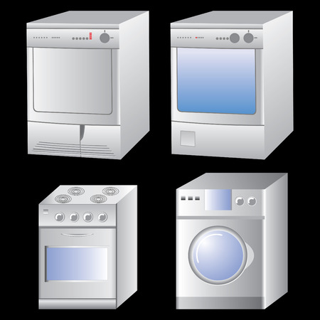 four washing machines for icons Stock Vector - 5074866