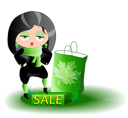rebate: the girl is buying cloth with a rebate