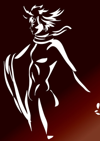 silhouette of a wind man Vector