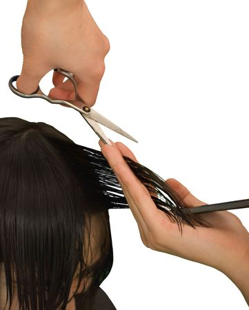 haircutting: hairdresser is cutting young woman