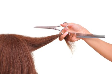 hairdresser is cutting young woman  photo