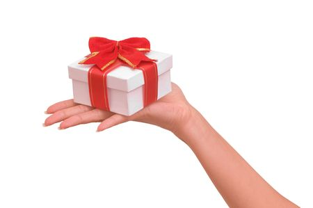 white box with red bow as a gift Stock Photo - 5483055