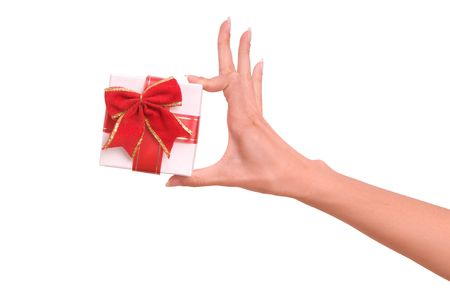 white box with red bow as a gift Stock Photo - 5556115