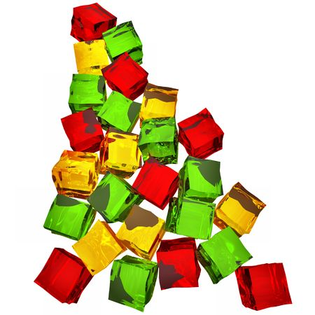 Different colored cube jellies falling down