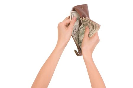 woman taking money from the wallet for paying  photo