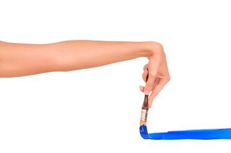 femme dessin: femme la ligne bleue avec un pinceau de dessin.