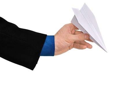 businessman throwing white paper plane photo