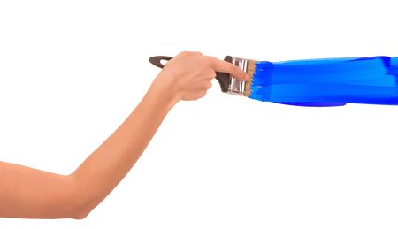woman drawing the blue line with brush  photo
