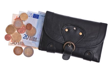 Black leather purse with euro and coins Stock Photo - 6017585