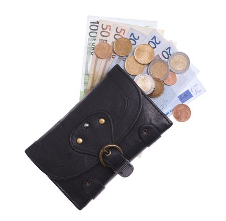 Black leather purse with euro and coins photo