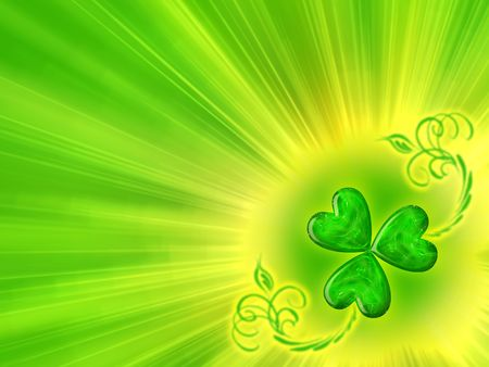 Glowing clover. St. Patricks Day background. photo