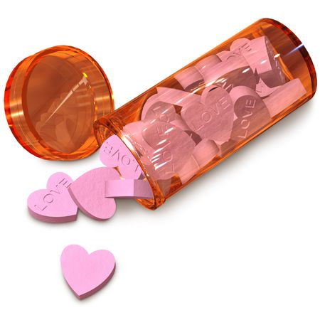 orange  tube with love pills for anti-impotence photo