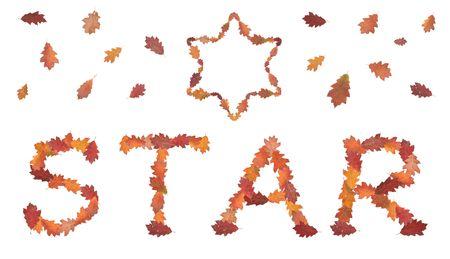 estrella de david: estrella de la palabra de otoño hojas con la estrella de David y hojas