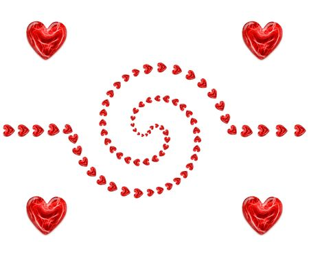 spiral of red hearts as a background for valentines day photo