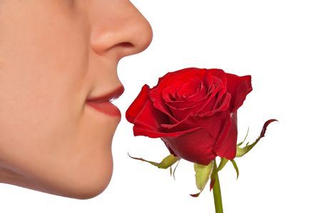 Young woman smelling red rose Stock Photo - 6640391