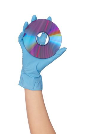hygenic: doctor holding round disk in the hand