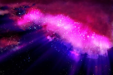 blue violet bright: northern lights in the black space of the galaxy