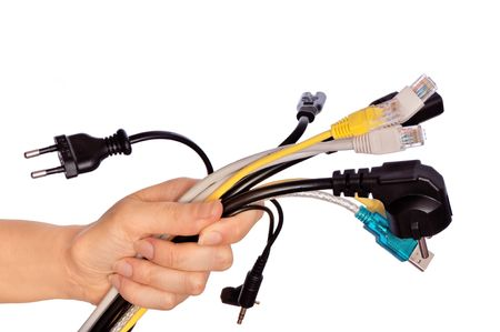 woman taking different cables in the hand  Stock Photo - 6786815