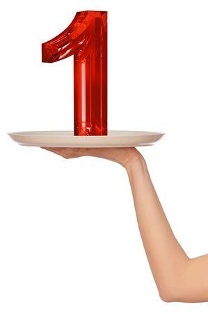 numero uno: el n�mero uno en la bandeja para el ganador