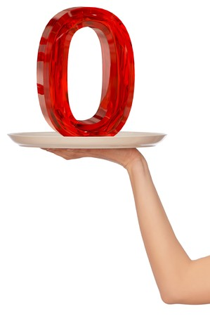 0 6: big red number zero on the tray