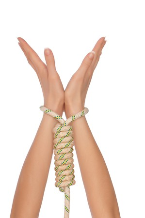 servitude: woman in the loop for hanging as a symbol of world servitude