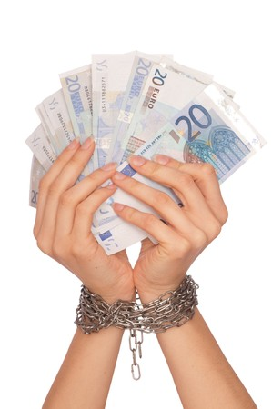 doctor holding money: The arrested counterfeiter with the twenty false euro