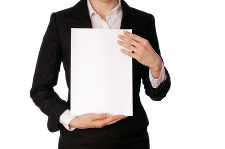 signing authority: The new worker holds the white blank paper in the hand