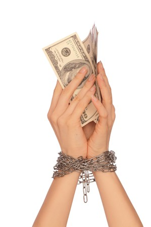 bogus: The arrested counterfeiter with hundreds false dollars Stock Photo