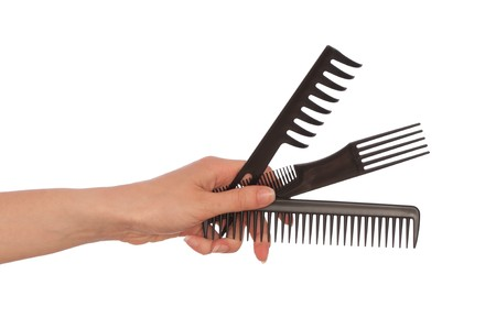 hairdresser holds the black tools for haircut Stock Photo - 7618831