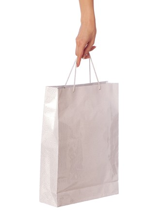 Paper bag with a rose from the supermarket Stock Photo
