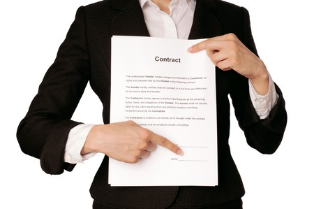 important notice: The managing director specifies in places for signatures in the contract Stock Photo