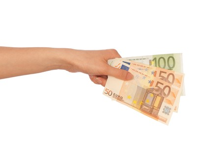 The criminal took dirty euro money in hands