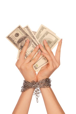 doctor putting money: The arrested counterfeiter with the twenty false dollars Stock Photo