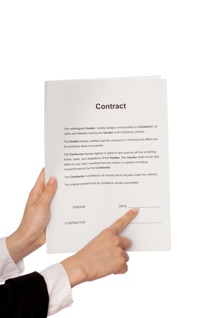 specifies: The managing director specifies in places for date of signing of a contract