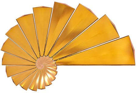 spiral staircase: Abstract rendered 3d yellow shell as a background Stock Photo