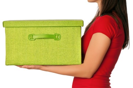 Woman presenting big green box with gifts Stock Photo - 7830456