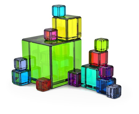 Colored big and small rendered cubes for background photo
