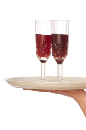 Waiter hold the tray with two glasses of champagne photo