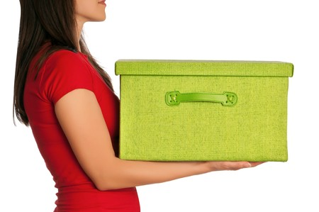 red post box: Woman presenting big green box with gifts
