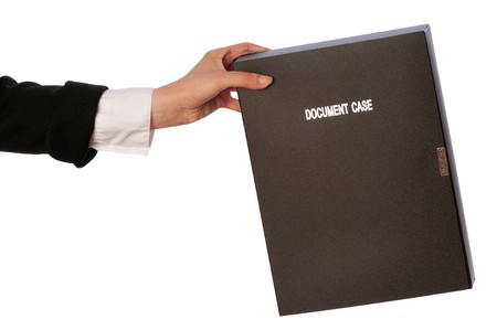categorize: The office worker holds the document case in the hands
