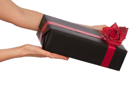 woman giving a black box with red rose as a gift photo