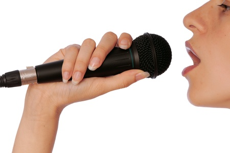 The singer sings a song in a microphone photo