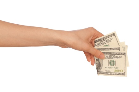doctor putting money: Woman buying goods in the supermarket with dollars