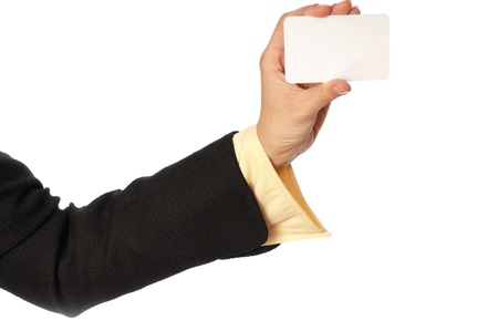 businesswoman giving her business card to the partners Stock Photo - 8299100