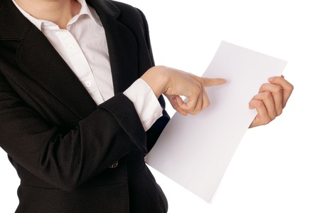 The new worker holds the white blank paper in the hand photo