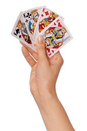 keeps: The girl keeps in a hand cards in casino for win