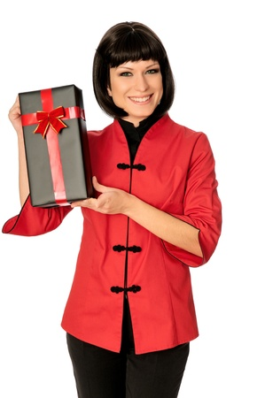 The happy woman dressed in Chinese style bought a gift at a discount photo